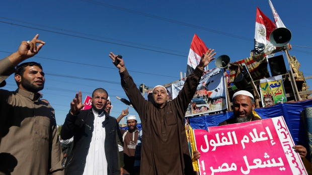 Islamist protesters chant slogans