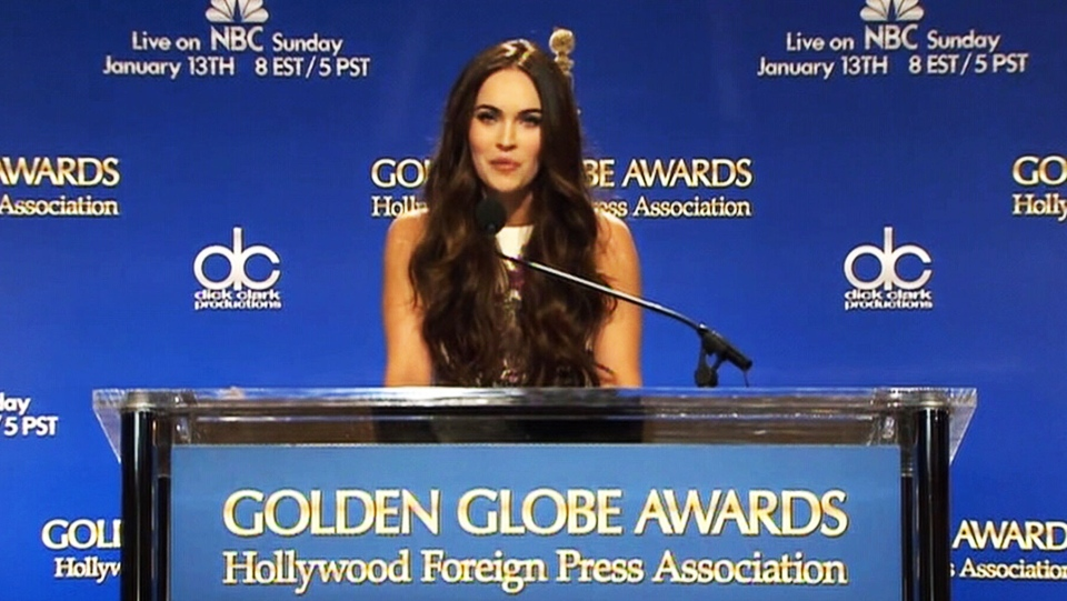 Megan Fox announces Golden Globe Awards nominees on Thursday, Dec. 13, 2012.