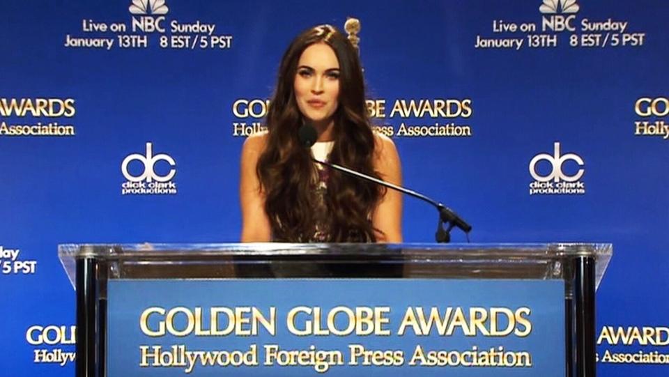 Megan Fox announces Golden Globe Awards nominees on Thursday, Dec. 13, 2012.