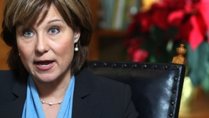 B.C. Premier Christy Clark answers questions during an interview from an office in the B.C. Legislature building in Victoria Tuesday, Dec. 11, 2012. (Chad Hipolito / THE CANADIAN PRESS)