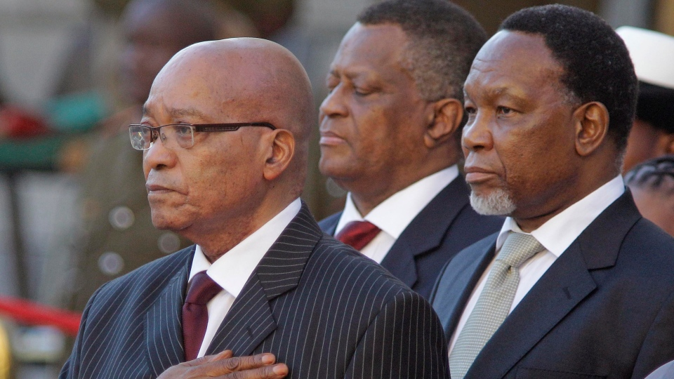 South African president Jacob Zuma, left, and deputy president Kgalema Motlanthe, right, are seen during the opening of Parliament in Cape Town, South Africa Thursday, Feb. 9, 2012.  (AP/ Schalk van Zuydam)