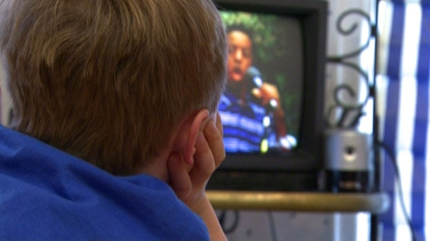 Child watches TV