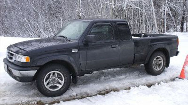 Police are asking the public to keep an eye out for a black 2010 Mazda pickup truck owned by Roger Colepaugh.