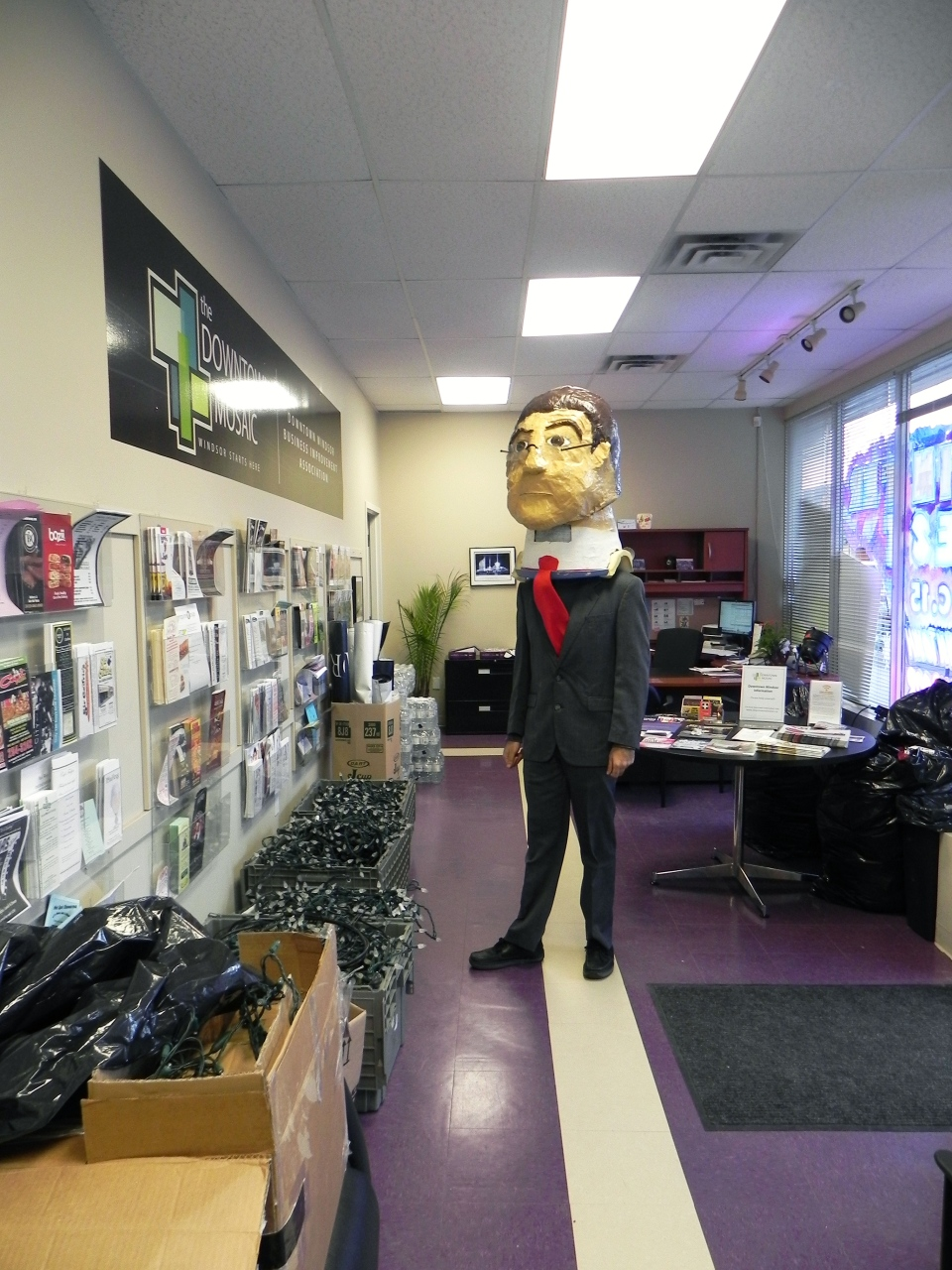A paper mache head in Stephen Colbert's likeness will be featured in Saturday's Windsor Winter Fest Holiday Parade. (Courtesy the Downtown Windsor BIA)
