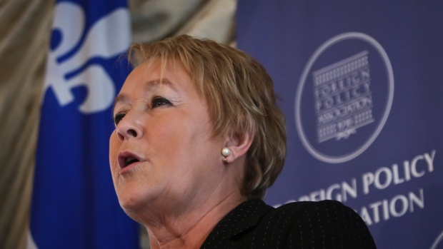 Pauline Marois, Premier of Quebec, delivers the ke