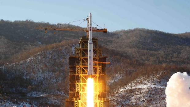 In this file photo, North Korea's Unha-3 rocket lifts off from the Sohae launch pad in Tongchang-ri, North Korea, Dec. 12, 2012. (Korean Central News Agency)