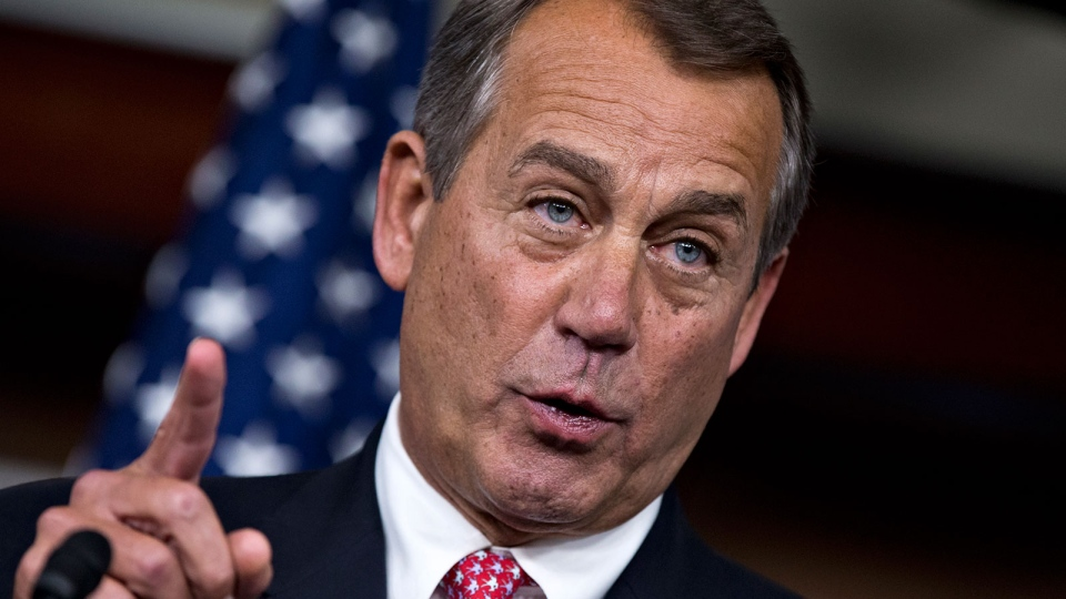 U.S. House Speaker John Boehner of Ohio gestures during a news conference on Capitol Hill in Washington, Thursday, Dec. 13, 2012. (AP / J. Scott Applewhite)