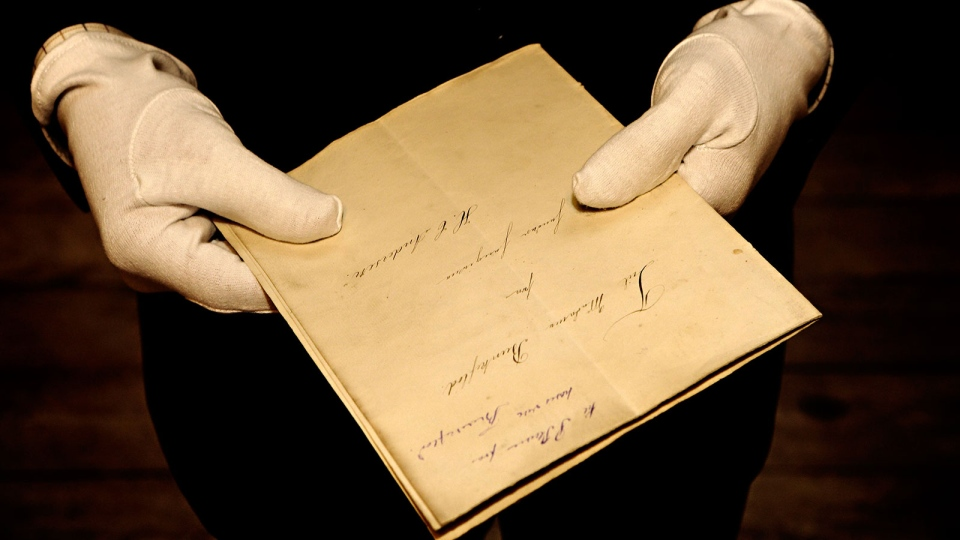 A newly found manuscript of a fairy tale by Hans Christian Andersen, which has been located in Odense, is pictured in the State Archives in Copenhagen, Denmark, Wednesday, Dec. 12, 2012. (Polfoto, Martin Bubandt)