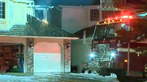 A fire broke out in the upper part of a home