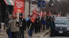 Striking teachers in Fergus