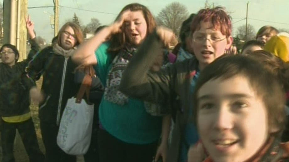 Students at William G. Davis Public School in Cambridge, Ont., protest after walking out of class on Friday, Dec. 14, 2012. (CTV Kitchener)