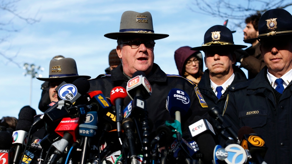 Lt. J. Paul Vance of the Connecticut State Police conducts a news briefing, in Newtown, Conn., on Saturday, Dec. 15, 2012. (AP / Jason DeCrow)