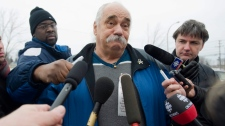 Raymond King speaks to reporters outside the Ste-Anne-des-Plaines federal prison near Montreal, Tuesday, Nov. 30, 2010. Clifford Olson was convicted of murdering a number of children in the 1980's including King's son, Raymond King Jr. (Graham Hughes / THE CANADIAN PRESS)