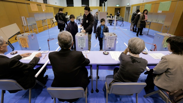 Man cast his vote in Japan's parliamentary electio