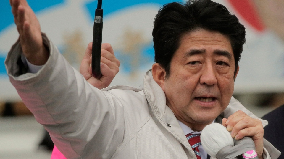 Japan's main opposition Liberal Democratic Party (LDP) President Shinzo Abe speaks during a campaign rally for the Dec. 16 parliamentary elections in Kawaguchi, near Tokyo, Saturday, Dec. 15, 2012. (AP / Itsuo Inouye)
