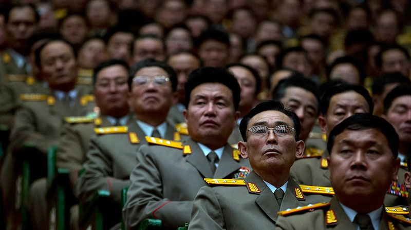 North Korean military officers attend a national meeting of top party and military officials on the eve of the first anniversary of the death of late leader Kim Jong Il in Pyongyang, North Korea, Sunday, Dec. 16, 2012. (AP / Ng Han Guan)