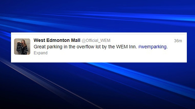 West Edmonton Mall has been tweeting the best places to park for shoppers heading to the mall.