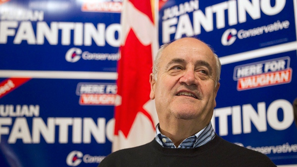 Julian Fantino arrives at his election night party after winning the by-election in the Vaughan riding on Nov. 29, 2010. (Chris Young / THE CANADIAN PRESS)
