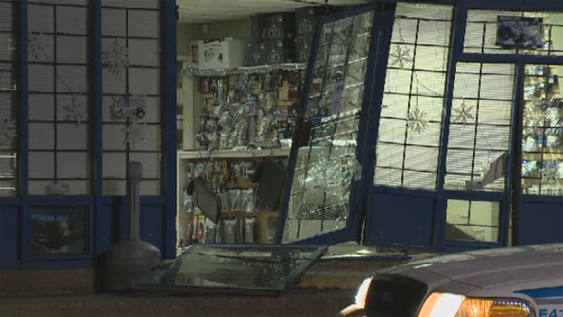 Police say it appears someone crashed a vehicle into the store early Monday morning.