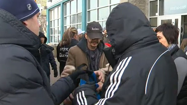 Edmonton's homeless community received a special Christmas present on Monday morning when more than 100 students delivered backpacks filled with warm clothes and personal care items to Boyle Street Community Services.