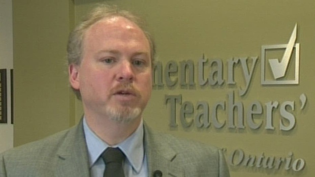 Greg Weiler, president of the Elementary Teachers Federation of Ontario's Waterloo Region chapter, speaks in the ETFO office on Monday, Dec. 17, 2012. (CTV Kitchener)