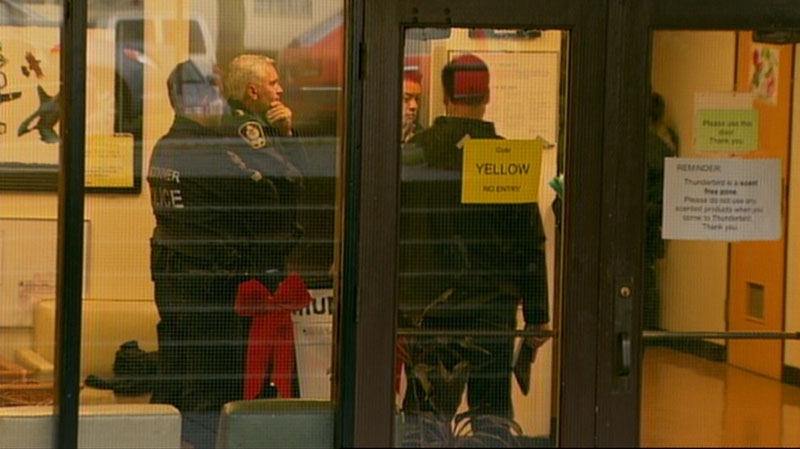 Vancouver police lock down Thunderbird Elementary School after receiving a threat on Dec. 17, 2012. (CTV)