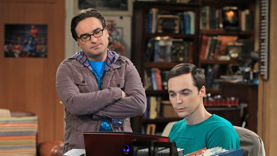 "Johnny Galecki, left, and Jim Parsons are shown in a scene from ""The Big Bang Theory."" (AP Photo/CBS/ Sonja Flemming)"