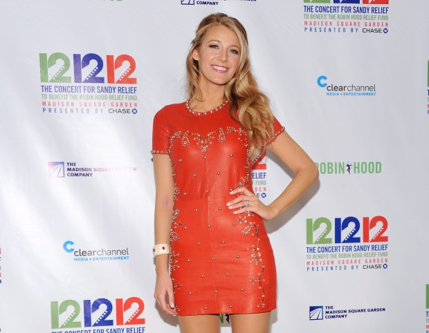 Actress Blake Lively poses backstage at '12-12-12' The Concert for Sandy Relief at Madison Square Garden in New York on Wednesday, Dec. 12, 2012. (AP / Evan Agostini/Invision)