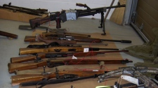 Police uncovered a secret room filled with weapons in a rural home near Kamloops. Dec. 1, 2010. (Shane Woodford)