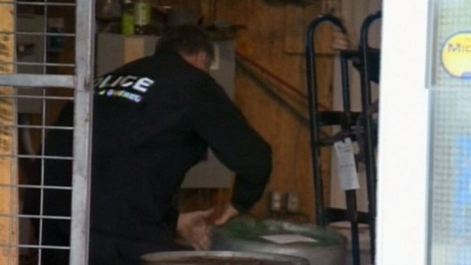 Police recovered vehicles, electronic lifts and seized a warehouse in St-Louis-de-Blandford, Que on Oct. 12, 2012.