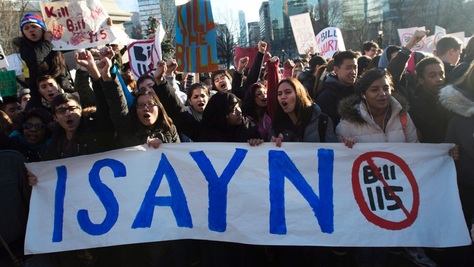 Students protest Bill 115 at Queen's Park in Toronto on Thursday, Dec.13, 2012. (Nathan Denette / THE CANADIAN PRESS)