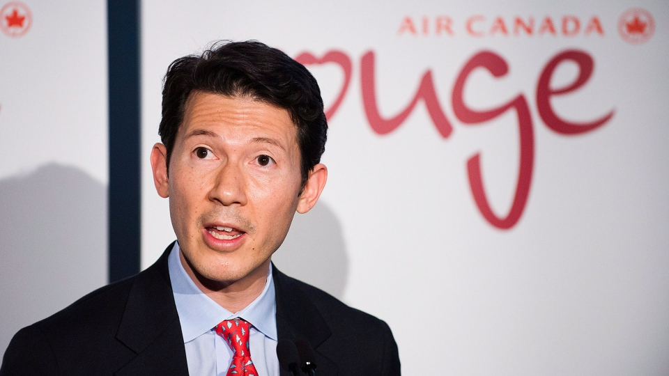 Executive vice-president Ben Smith unveils the new leisure airline Air Canada Rouge in Toronto on Tuesday, December 18, 2012. (Aaron Vincent Elkaim / THE CANADIAN PRESS)