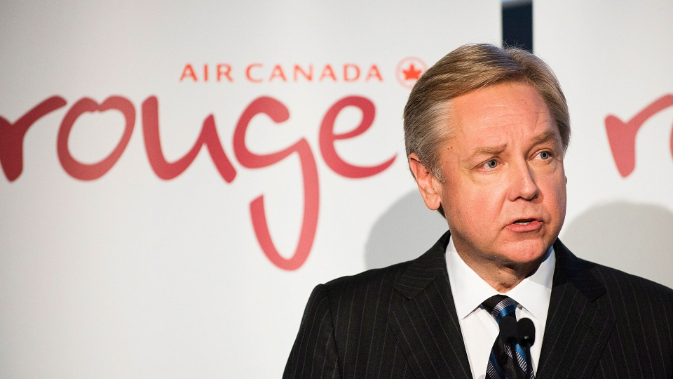 Michael Friisdahl, CEO of Air Canada Leisure Group, unveils the new leisure airline Air Canada Rouge in Toronto on Tuesday December 18, 2012. (Aaron Vincent Elkaim / THE CANADIAN PRESS)