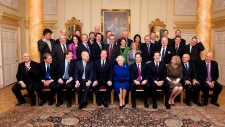 Queen Elizabeeth II poses with Cabinet members