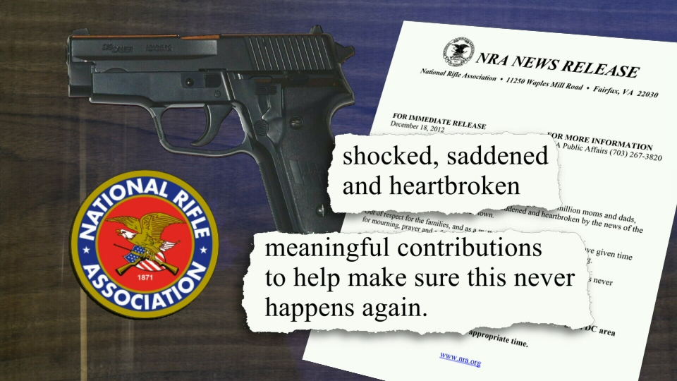 The National Rifle Association said they were 'shocked, saddened and heartbroken' by the Connecticut elementary school massacre, in a statement released Tuesday, Dec. 18, 2012.