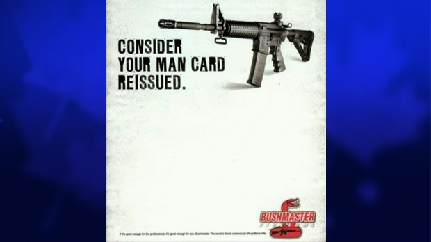 The AR-15 semi-automatic is marketed by Bushmaster as the weapon of choice for men.