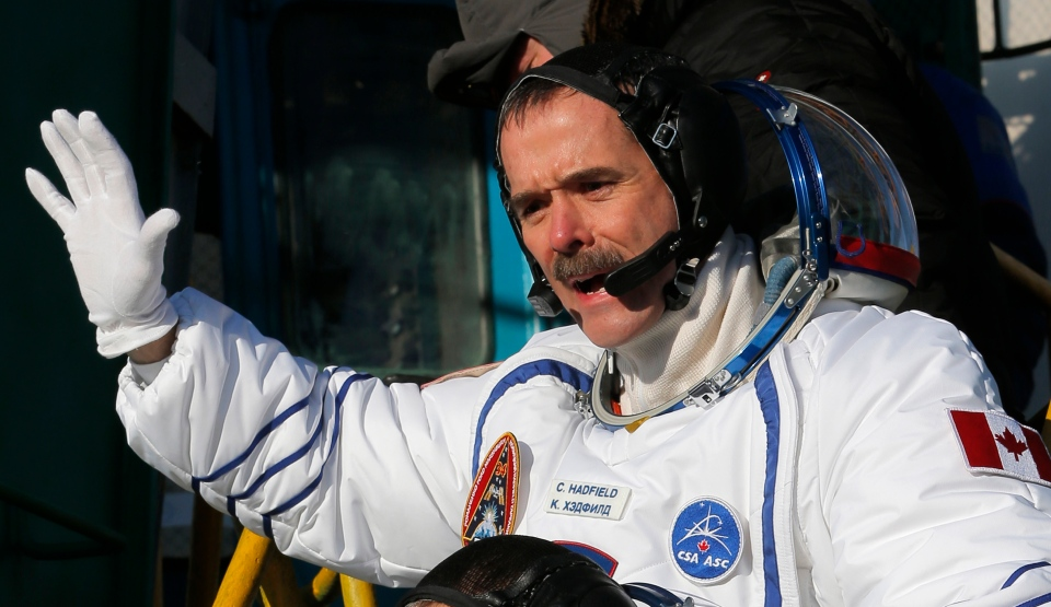 Canadian astronaut Chris Hadfield, a crew member of the mission to the International Space Station, gestures prior the launch of the Soyuz-FG rocket at the Russian leased Baikonur cosmodrome, Kazakhstan, Wednesday, Dec. 19, 2012. (AP / Dmitry Lovetsky, Pool)