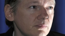Founder of the WikiLeaks website, Julian Assange, speaks during a press conference in London, Saturday, Oct. 23, 2010. (AP / Lennart Preiss)