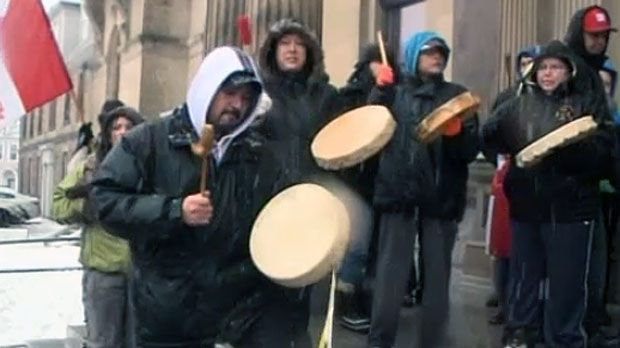 More than 100 people from various First Nations gathered at the New Brunswick legislature Wednesday to protest Bill C-45.
