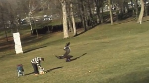 "A screengrab is shown from a YouTube video called ""Golden Eagle Snatches Kid."""
