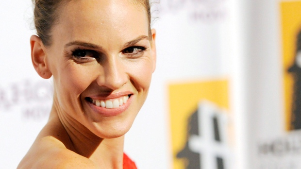 Hilary Swank poses at the 14th Annual Hollywood Awards Gala in Beverly Hills, Calif., Monday, Oct. 25, 2010. (AP / Chris Pizzello)