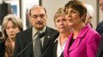 BC NDP Leader Carole James (right) is flanked by BC NDP MLAs (from left) Sue Hammell, Raj Chouhan and Dawn Black during a press conference in Vancouver, December 2, 2010. (CP/Richard Lam)