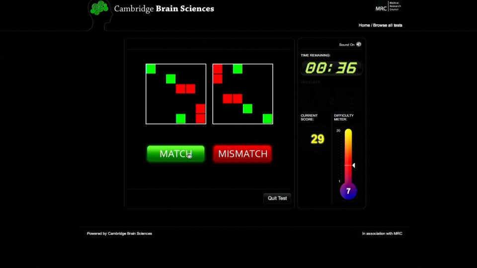 The Cambridge Brain Sciences cognitive function test is shown in this undated photo.