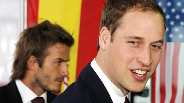 Britain's Prince William, right, and English soccer player David Beckham arrive with their delegation at the FIFA headquarters in Zurich, Switzerland, Thursday, Dec. 2, 2010. (AP Photo/Michael Probst)