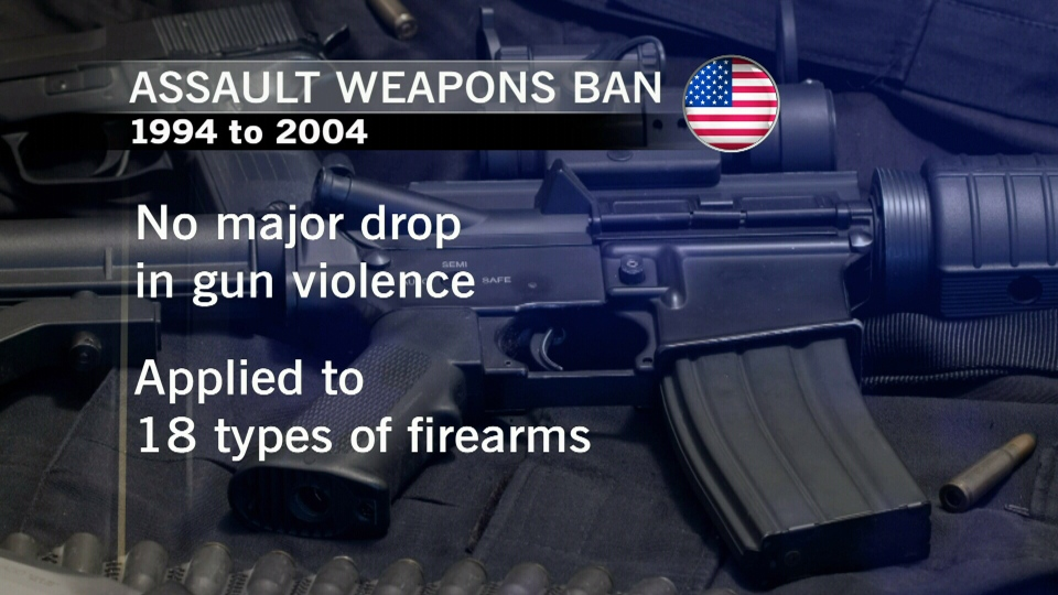 A previous U.S. ban on assault weapons between 1994 and 2004 had almost no effect on the rate of gun violence, leaving the government wondering what's next.