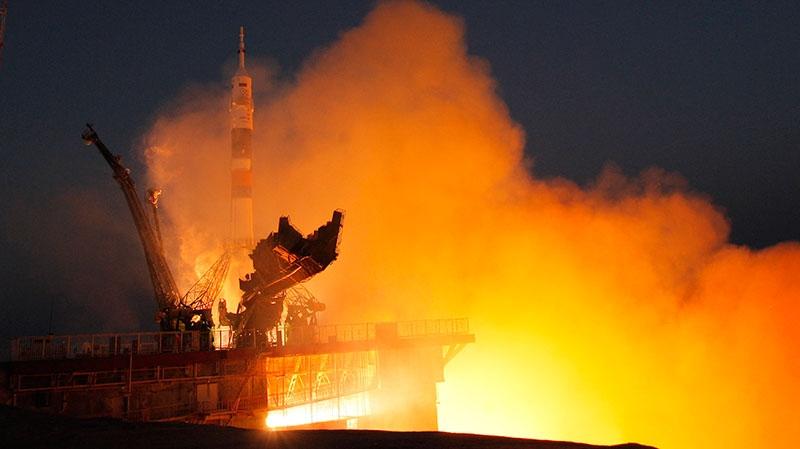 The Soyuz-FG rocket booster with Soyuz TMA-07M space ship transporting U.S. astronaut Thomas Marshburn, Russian cosmonaut Roman Romanenko and Canadian astronaut Chris Hadfield to the International Space Station blasts off from the Russian leased Baikonur cosmodrome, Kazakhstan, Wednesday, Dec. 19, 2012. (AP / Dmitry Lovetsky)