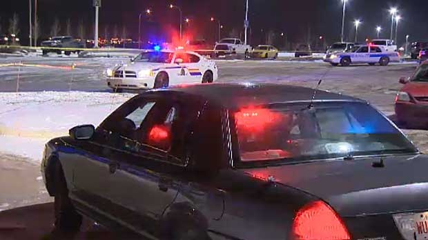 A man was shot outside of CrossIron Mills, north of Calgary on Wednesday evening.