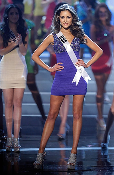 Miss USA Olivia Culpo steps out as she is named one of the final 16 contestants during the Miss Universe pageant, Wednesday, Dec. 19, 2012, in Las Vegas. (AP / Julie Jacobson)