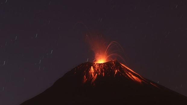 Ecuador volcano blasts lava