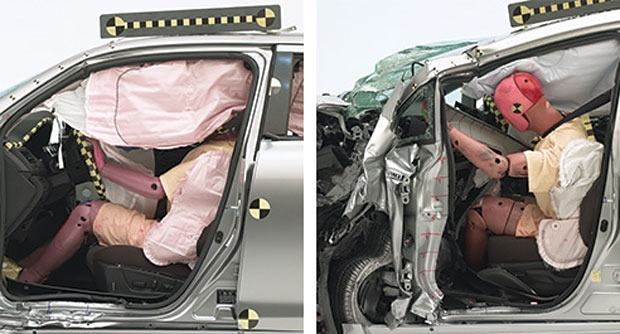 The Suzuki Kizashi (above left) earns a good overall rating and is the only midsize moderately priced car with a good rating for structure. There was only minor intrusion into the occupant compartment. In contrast, survival space for the driver in the Toyota Prius v (above right) was seriously compromised. The side curtain airbag also deployed too late to offer protection. The Prius v earns a poor rating. (Photo courtesy of the IIHS)